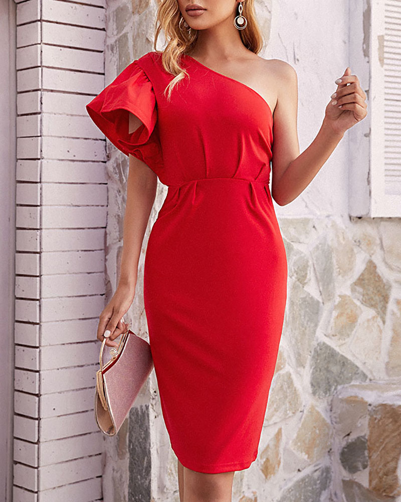 Plain One Shoulder Ruffle Hem Bodycon Dress, Red