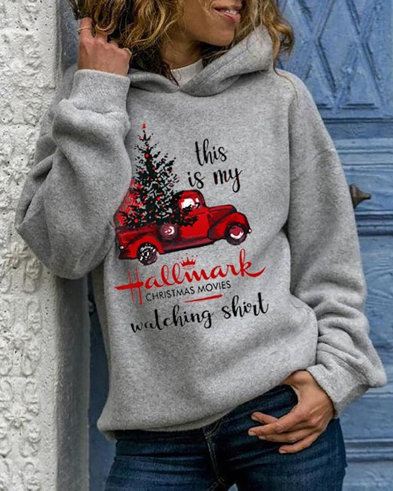 Christmas Letter Car Print Hooded Top
