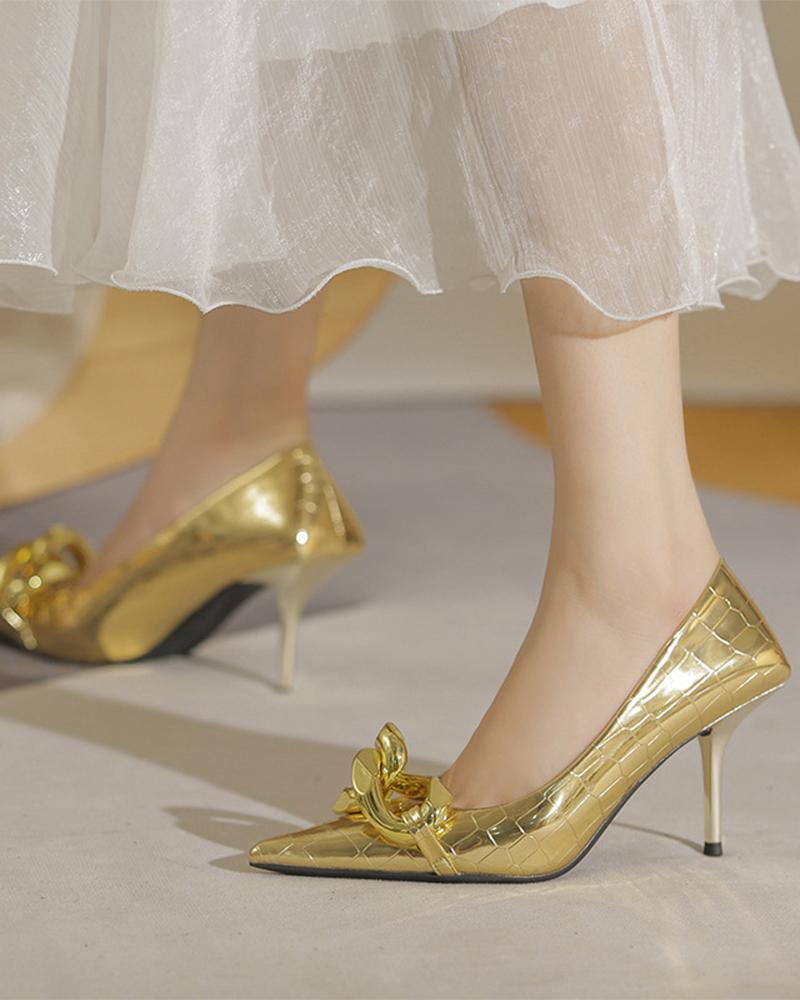 Pointed-toe Snakeskin Print Splicing Buckle Pump Heels