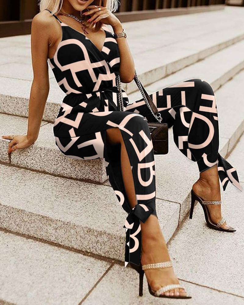 Letter Print V-Neck Split Knot Hem Cami Jumpsuit Casual Sleeveless Sling Jumpsuit