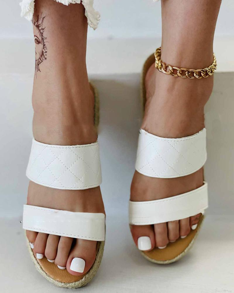 Round-toe Double-straps Open-toe Platform Sandals
