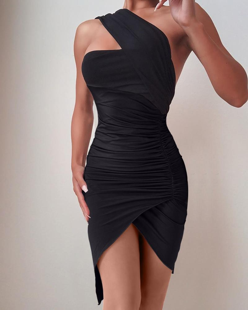 One Shoulder Ruched Asymmetrical Bodycon Dress