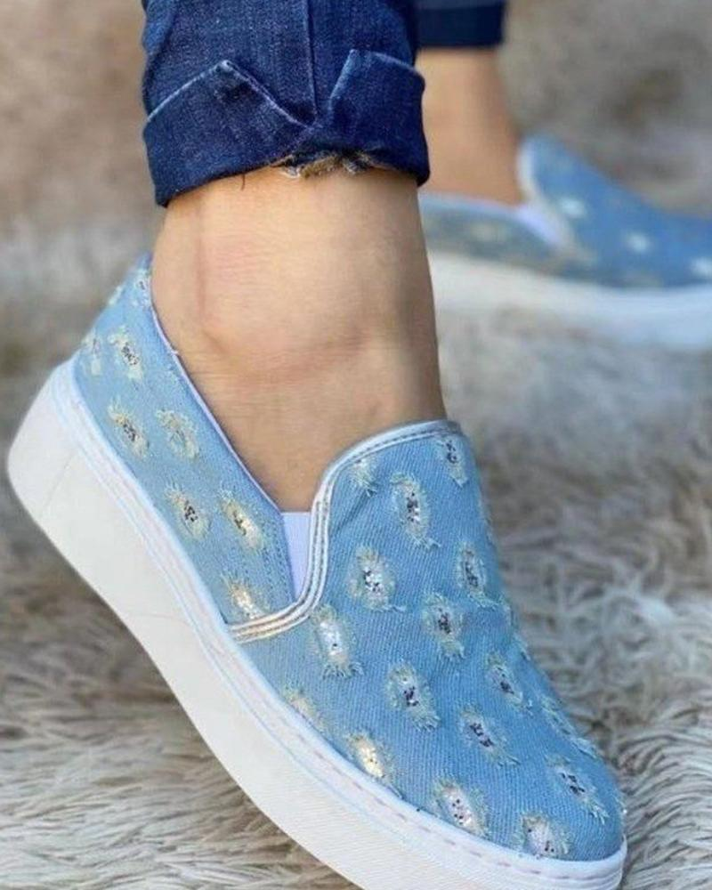 Womens All Over Print Round Toe Canvas Casual Shoes
