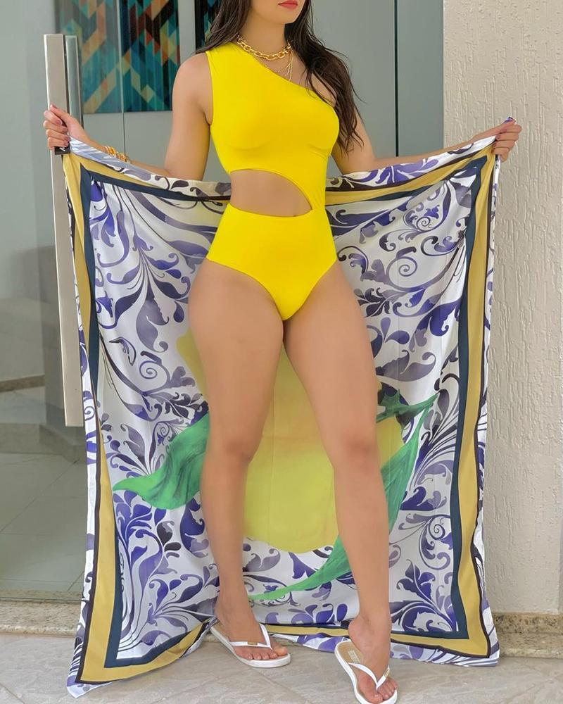 One Shoulder Cutout One Piece Swimsuit With Graphic Print Scarf