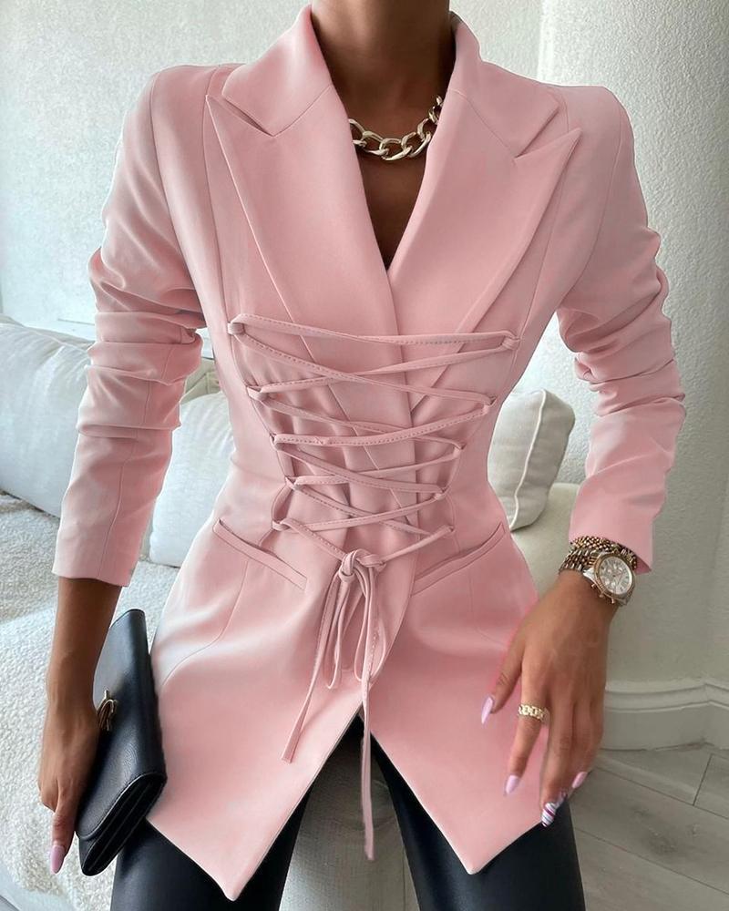 Long Sleeve Lace-up Pocket Decor Blazer Coat