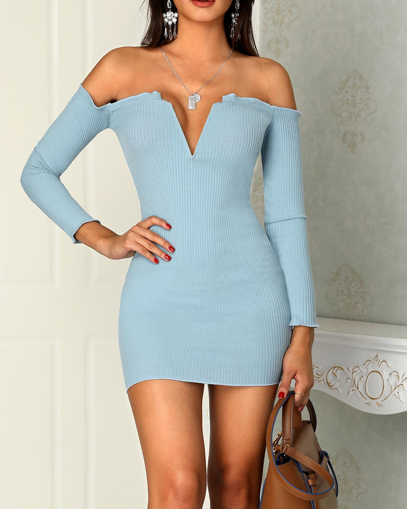 ChicMe coupon: Frills Notched Neck Long Sleeve Bodycon Dress