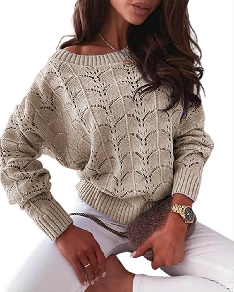 Hollow Out Long Sleeve Casual Knit Sweater Casual Round Neck Solid Rib-Knit Sweater