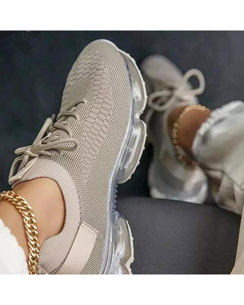 Mesh Lace-up Air Cushion Sole Sneaker