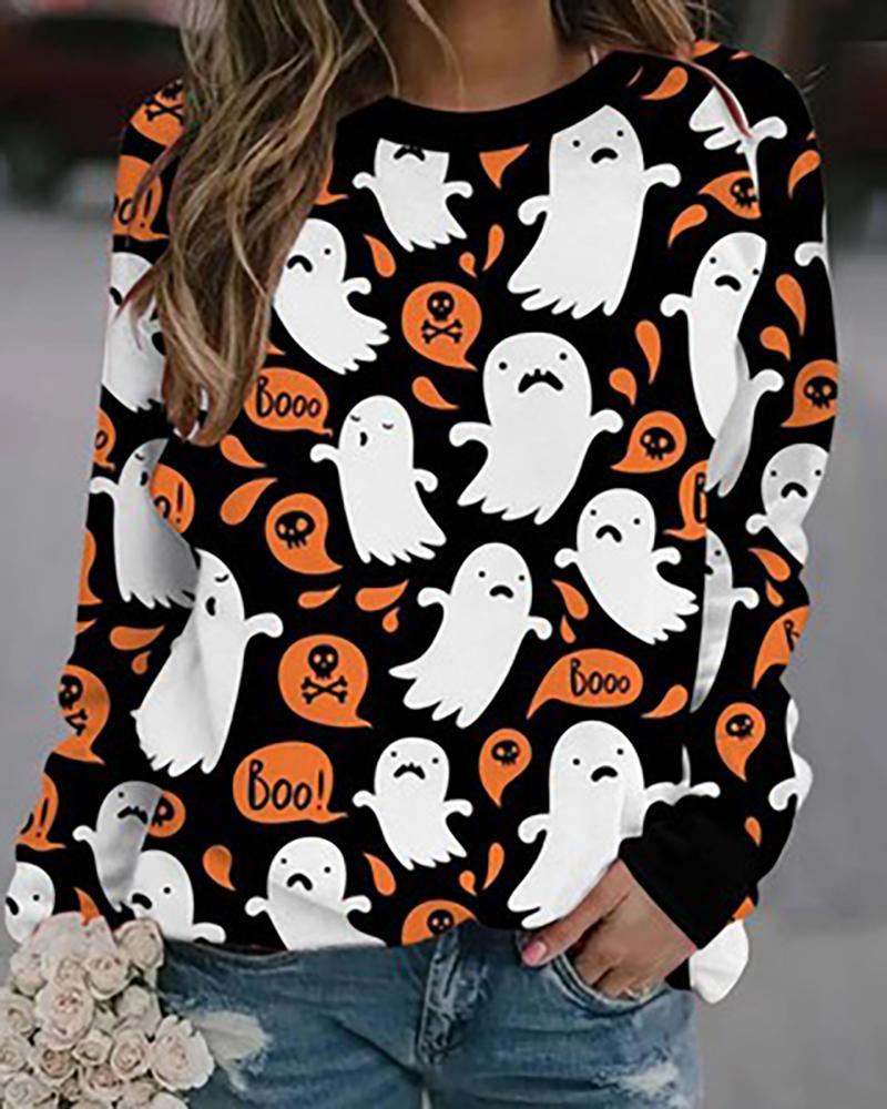 Halloween Long Sleeve Graphic / Animal Print Sweatshirt