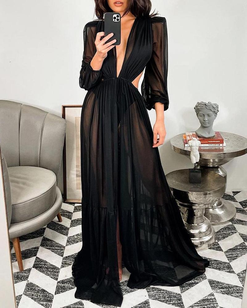 Ivrose coupon: Sheer Mesh Cutout Waist Ruched Cover Up Dress