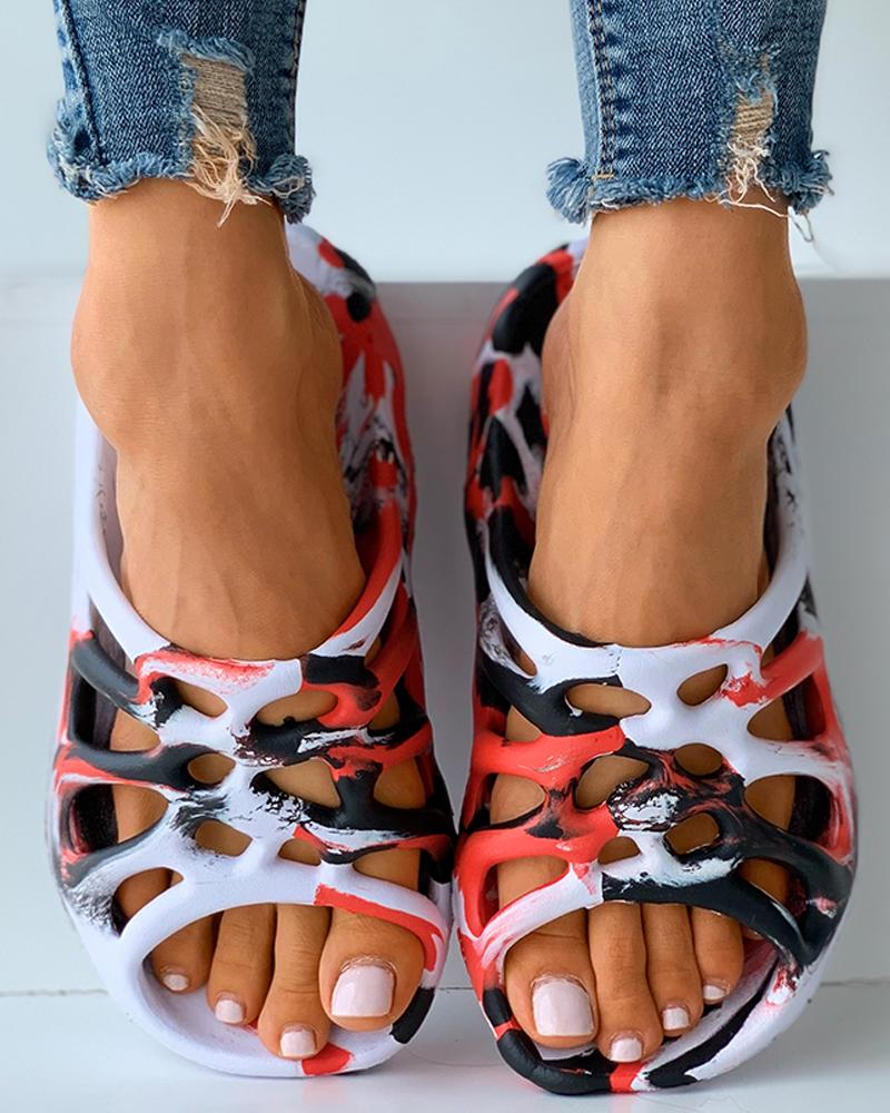Colorblock Cutout Casual Flat Sandals