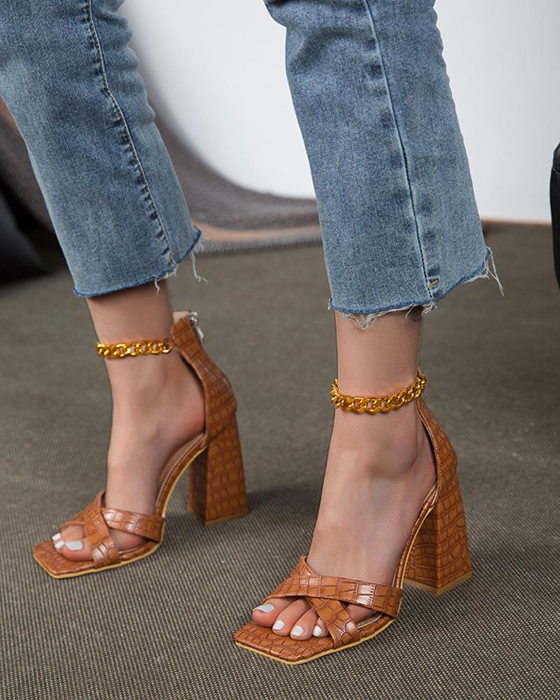 Square-toe All Over Print Splicing Chain Cross Strap High Heels