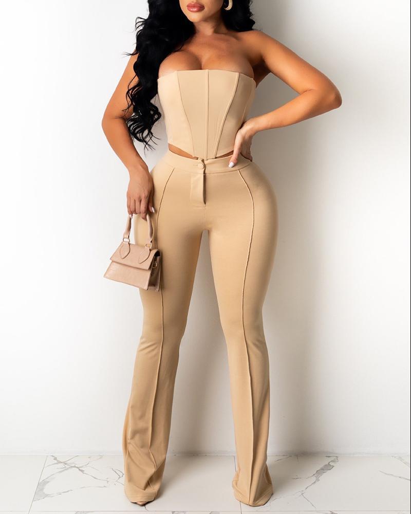 Corset Sleeveless Top & High Waist Pants Set, Khaki