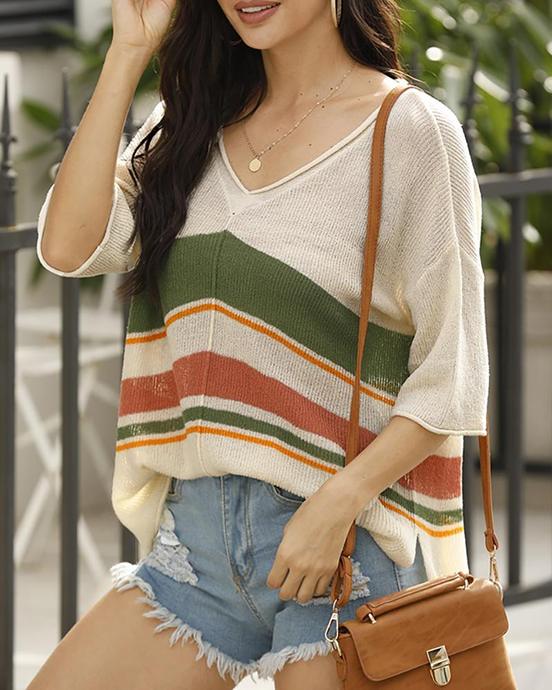 Knitted Colorblock Half Sleeve Casual Top