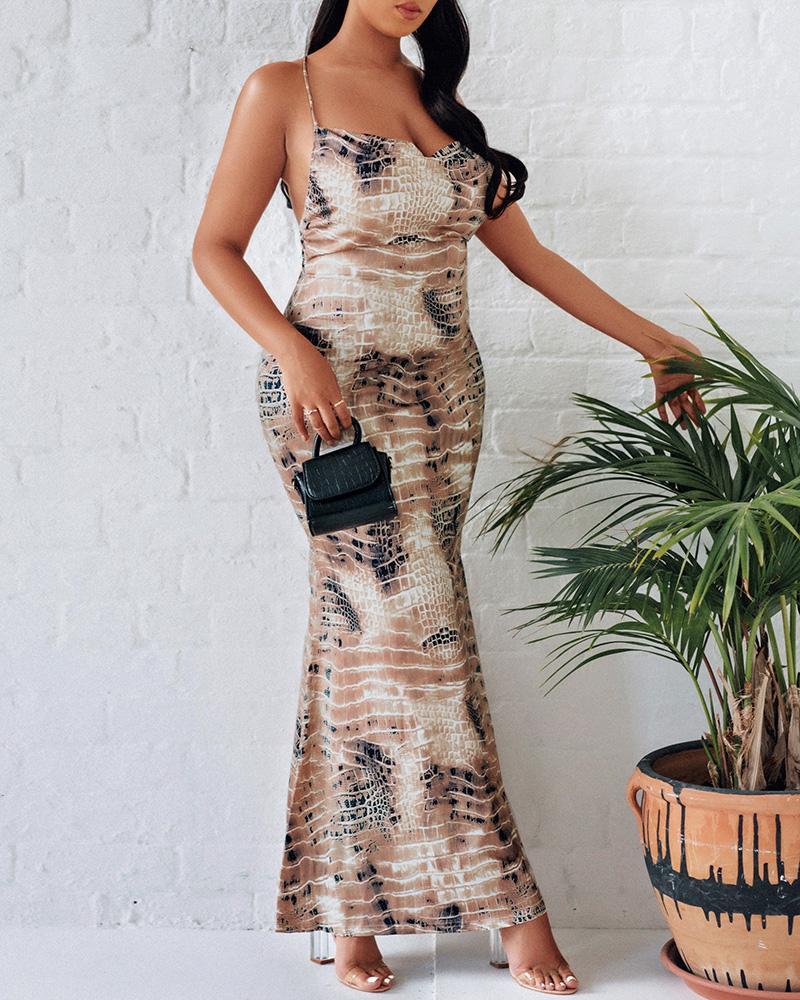 Snakesin Print Crisscross Backless Mermaid Dress