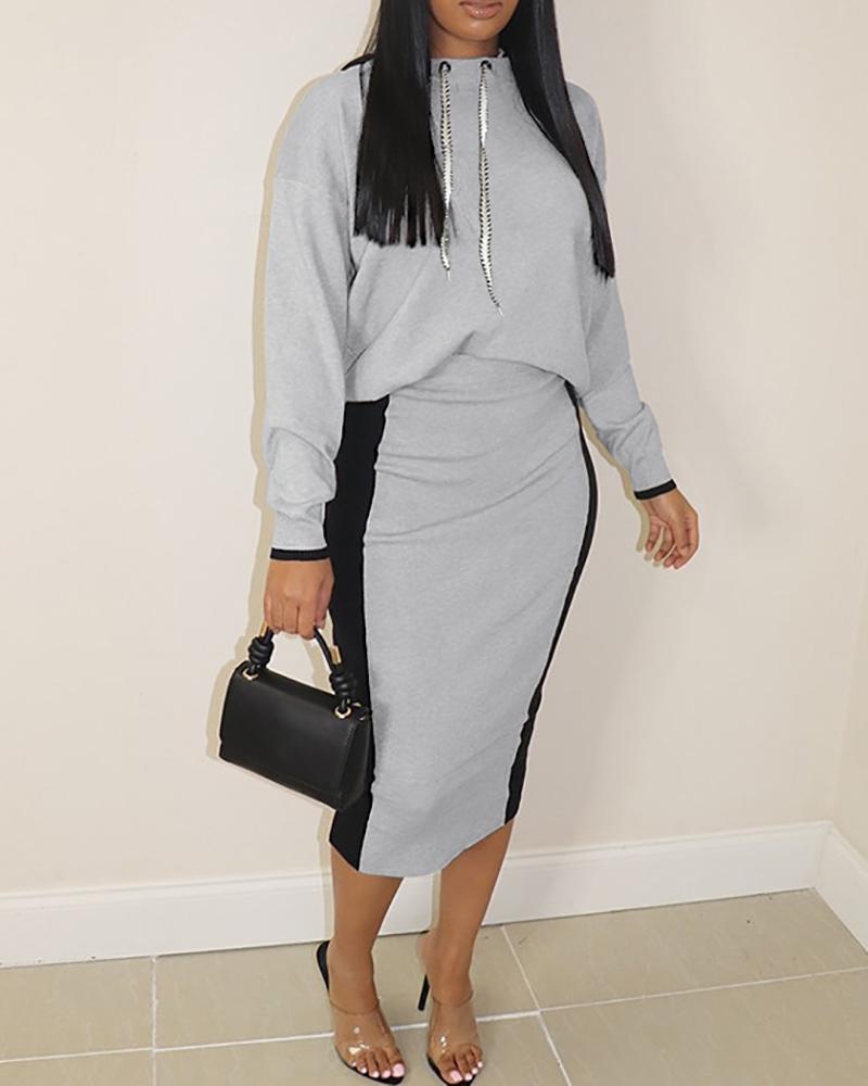 Long Sleeve Hooded Sweatshirt & Colorblock Skirt Set