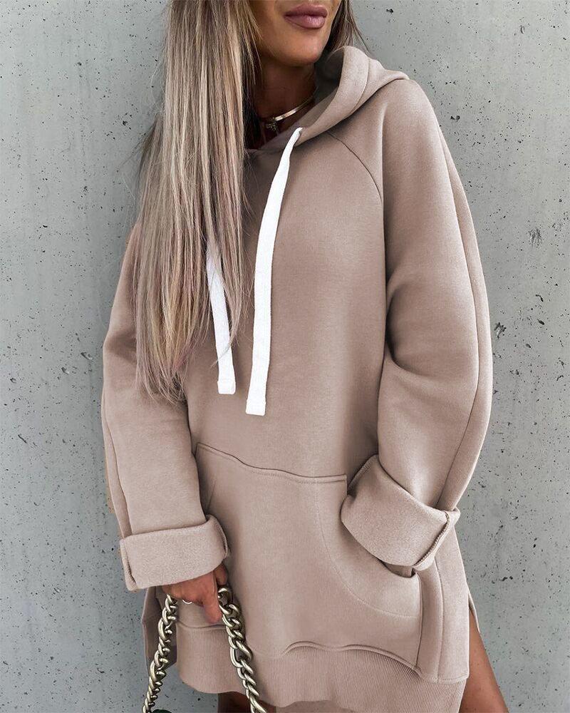 Drawstring Hooded Split Hem Sweatshirt Dress