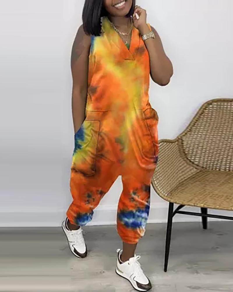 Tie Dye Print Pocket Design Sleeveless Jumpsuit, boutiquefeel, orange  - buy with discount