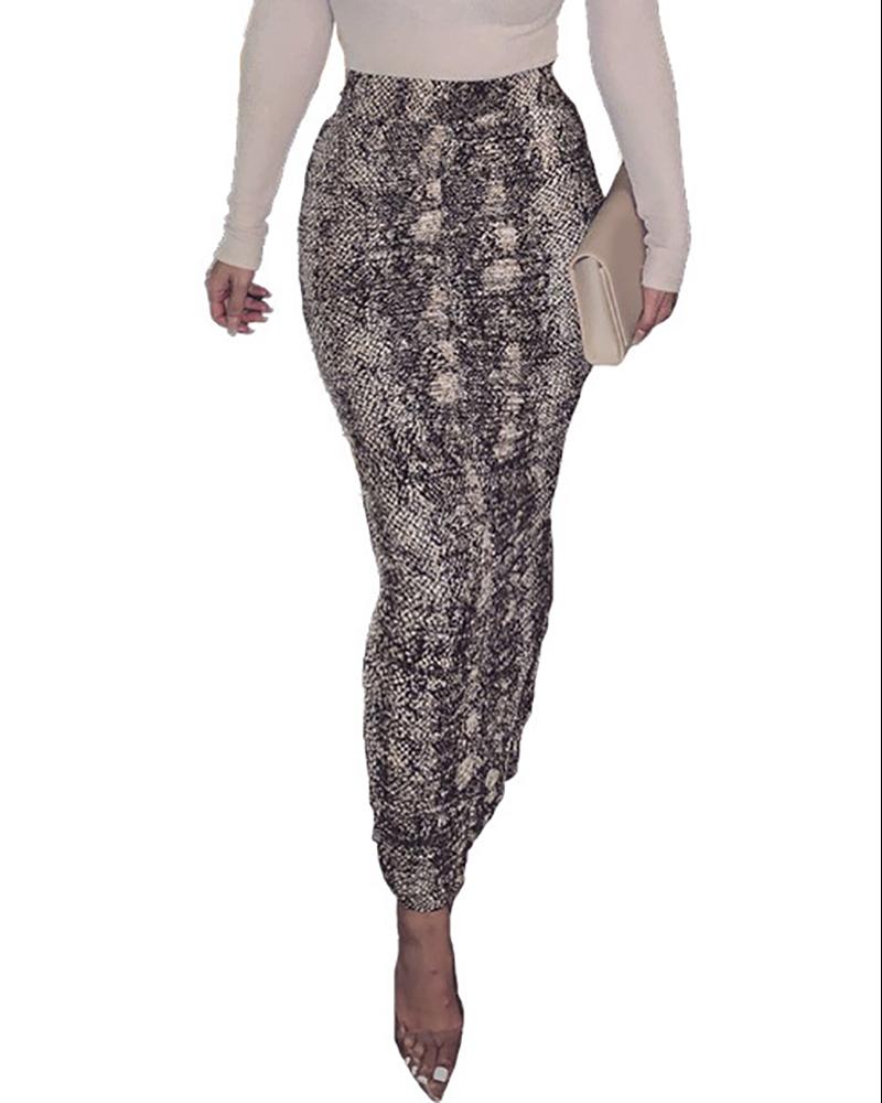 Snakeakin / Cheetah Print Slit Skinny Mini Skirt