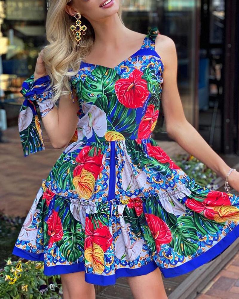 Frill Hem Tied Detail Tropical Print Dress