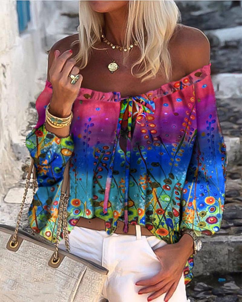 Multicolor Printed Floral Cold Shoulder Cami Long Sleeve Blouse