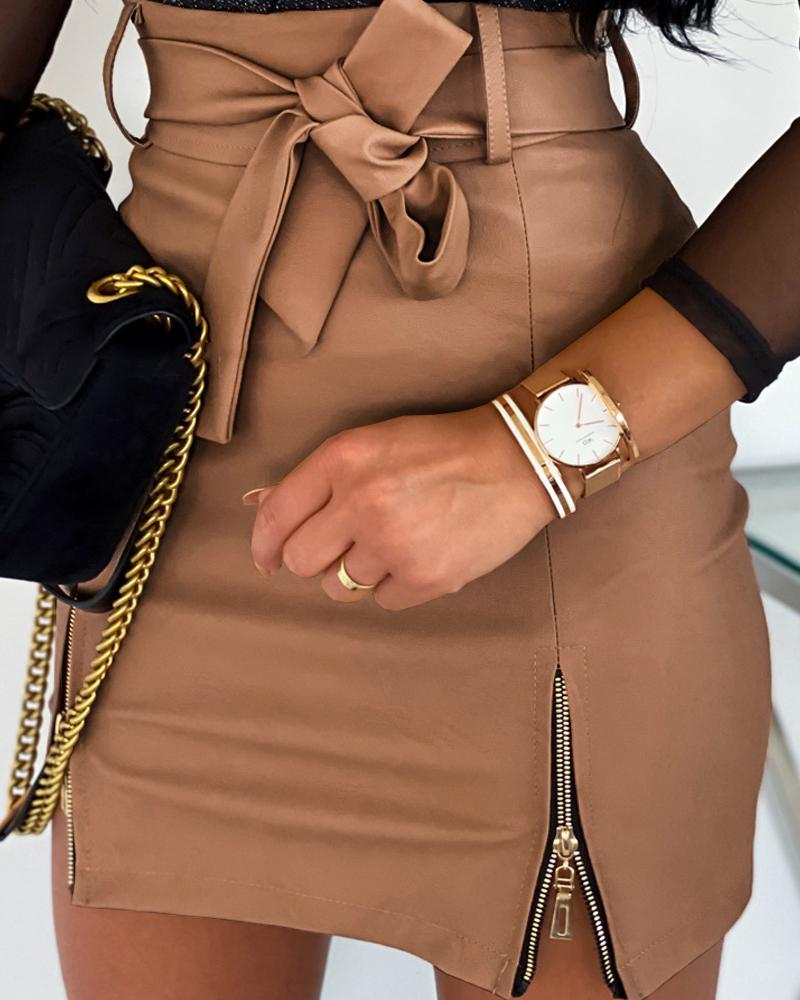Faux Leather Zipper Detail  Mini Skirt