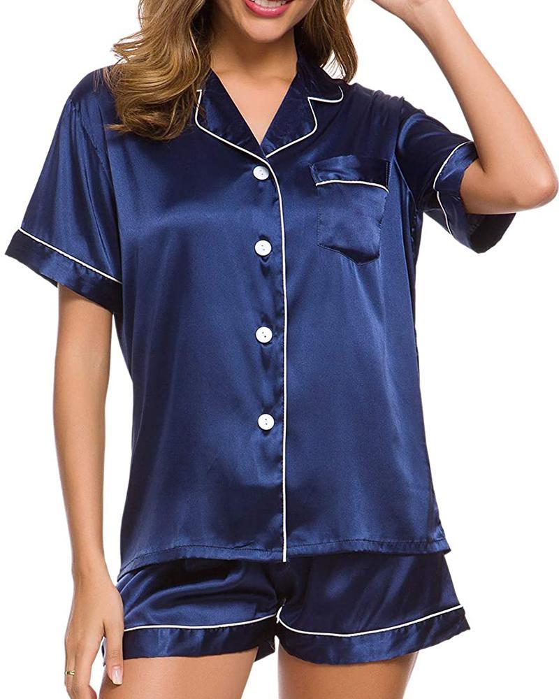 ChicMe coupon: Colorblock Satin Button Design Pajamas Set