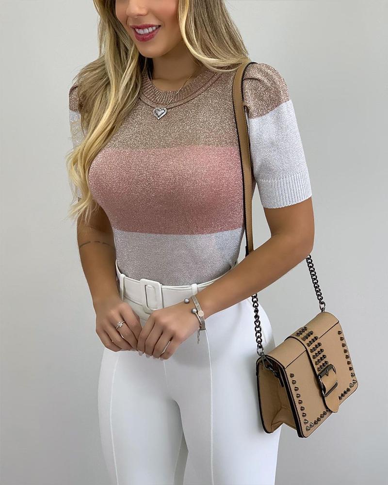 Ivrose coupon: Colorblock Glitter Puff Sleeve Rib-knit Top Short Sleeve Skinny Tops