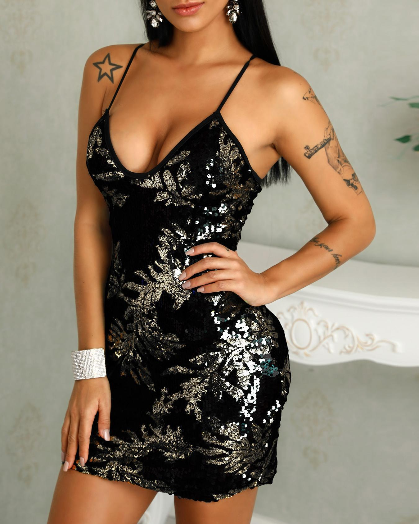 Low Cut Bodycon Mini Sequin Party Dress