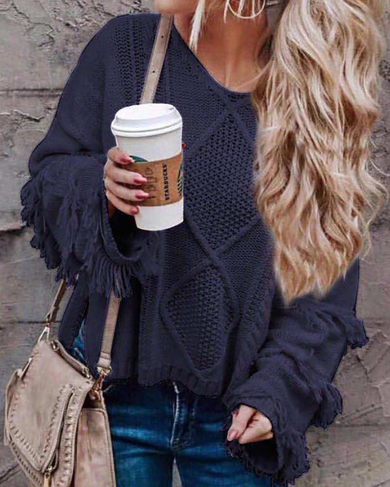 Tassel Hollow Out Knit Sweater