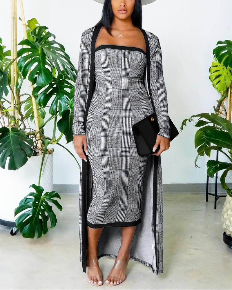 Plaid Tube Bodycon Dress With Longline Coat