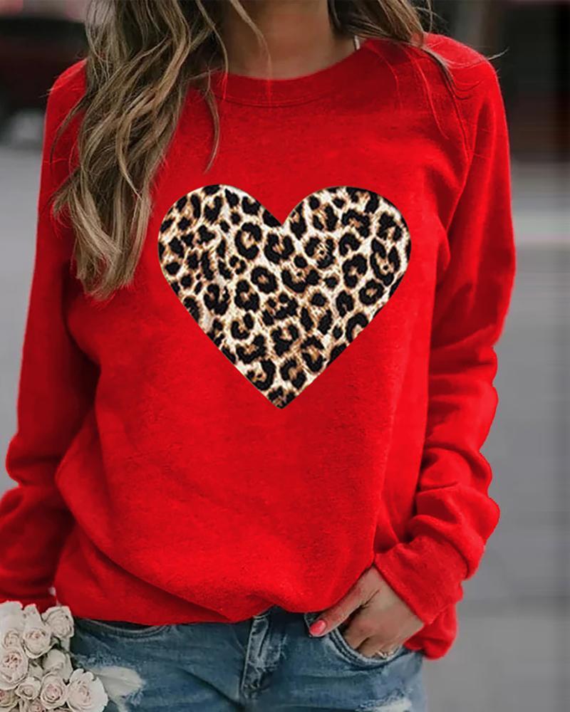 Leopard Heart Print Long Sleeve Sweatshirt thumbnail