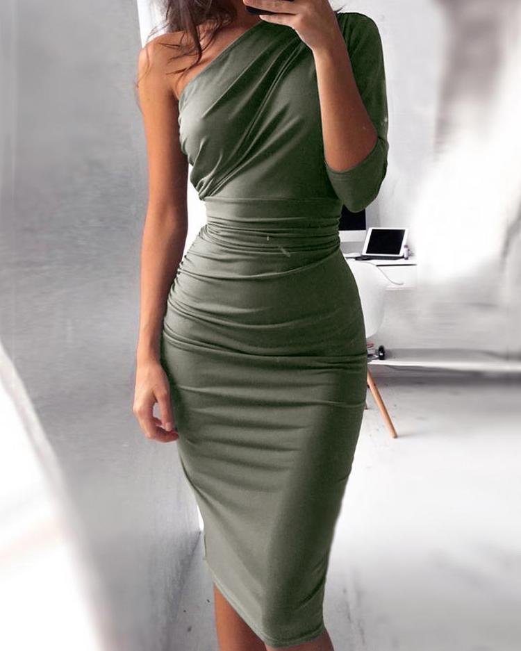One Shoulder Scrunch Self-belted Bodycon Dress thumbnail
