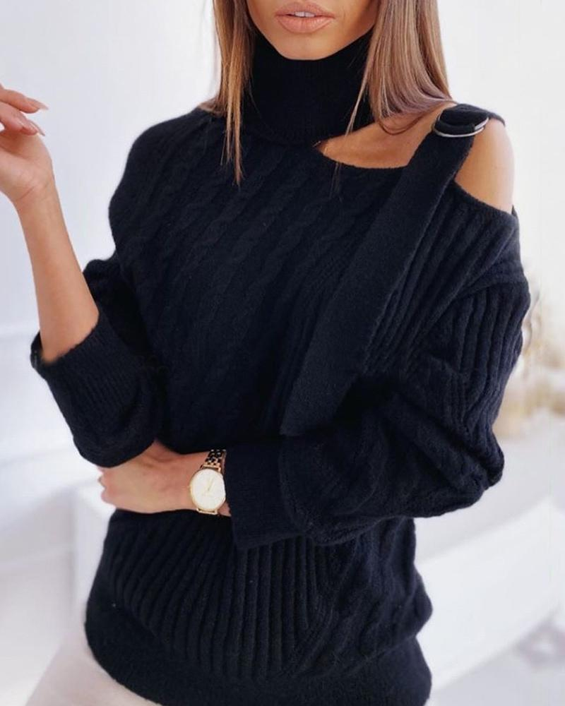 One Shoulder Buckled Knit Hollow Out Sweater