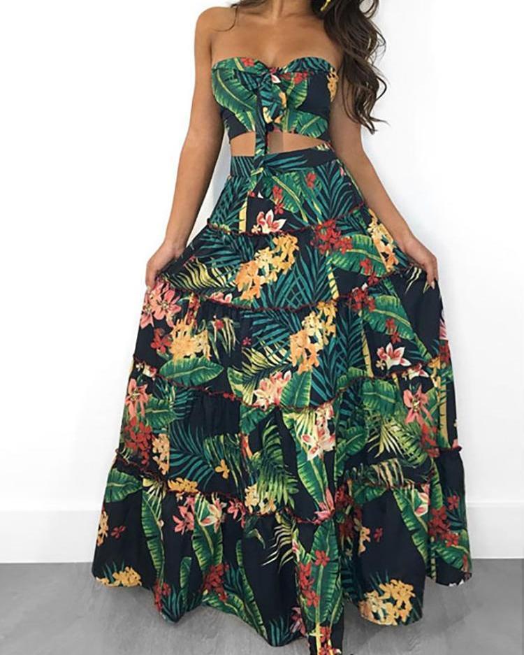 Tropical Print Crop Top & Maxi Skirt Set thumbnail