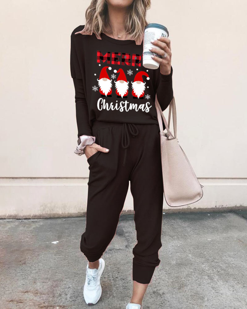 Merry Christmas Gnomes Print Top & Pants Set