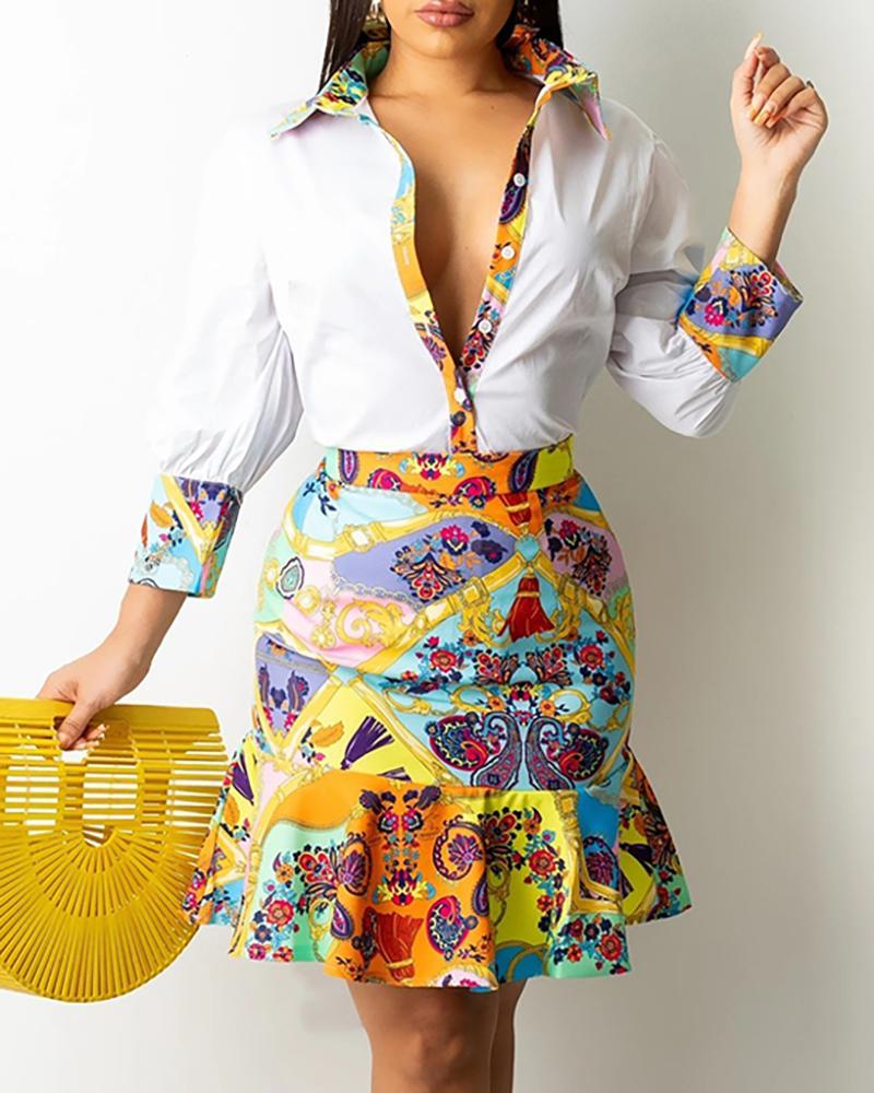 Button Design Scarf Print Top & Ruffles Skirt Set thumbnail