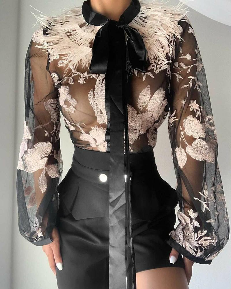 Embroidery Floral Tie Neck Contrast Feather Sheer Mesh Top
