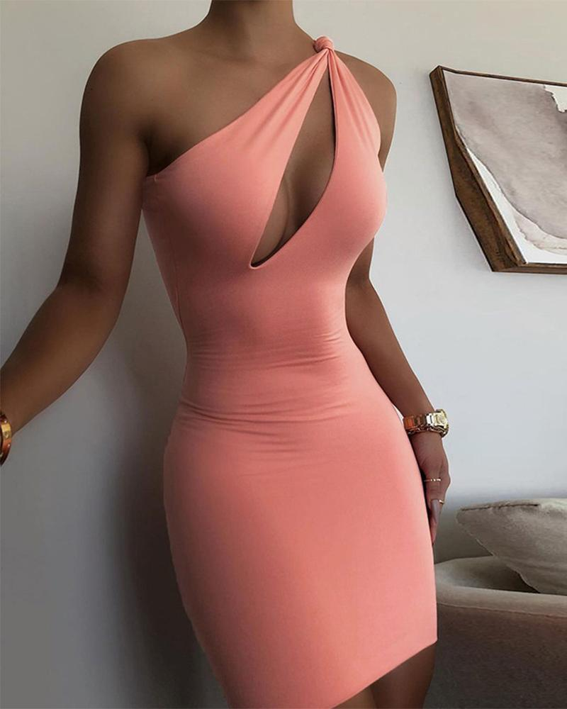 Solid Color Cut-out One Shoulder Sleeveless Slinky Mini Dress