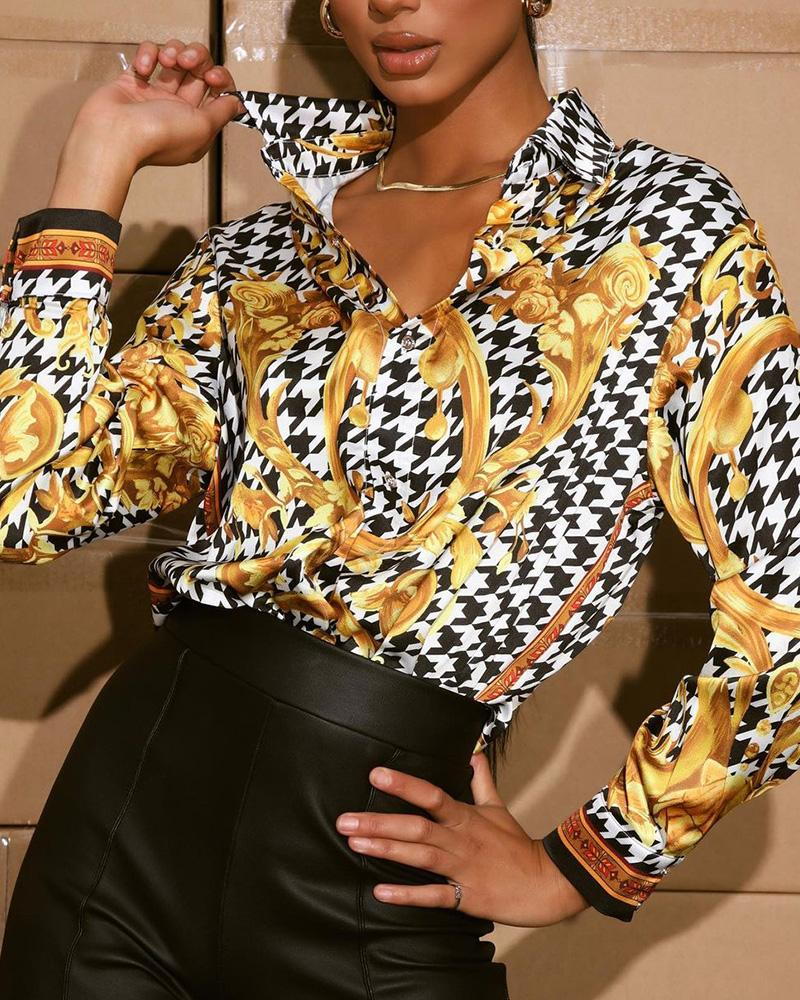 Scarf Houndstooth Print Long Sleeve Button Tee