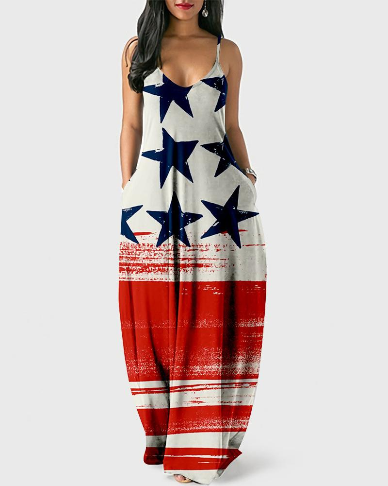Independence Day Print Sling Maxi Dress
