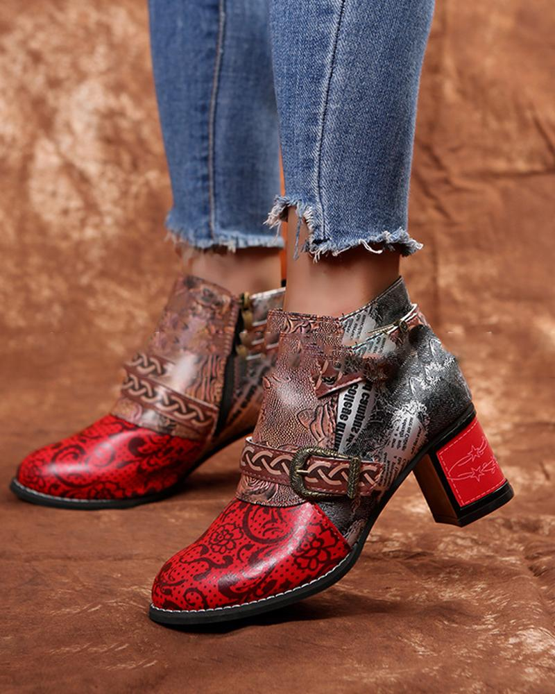 Vintage Round Toe Floral Embroidery Heeled Ankle Boots With Buckle