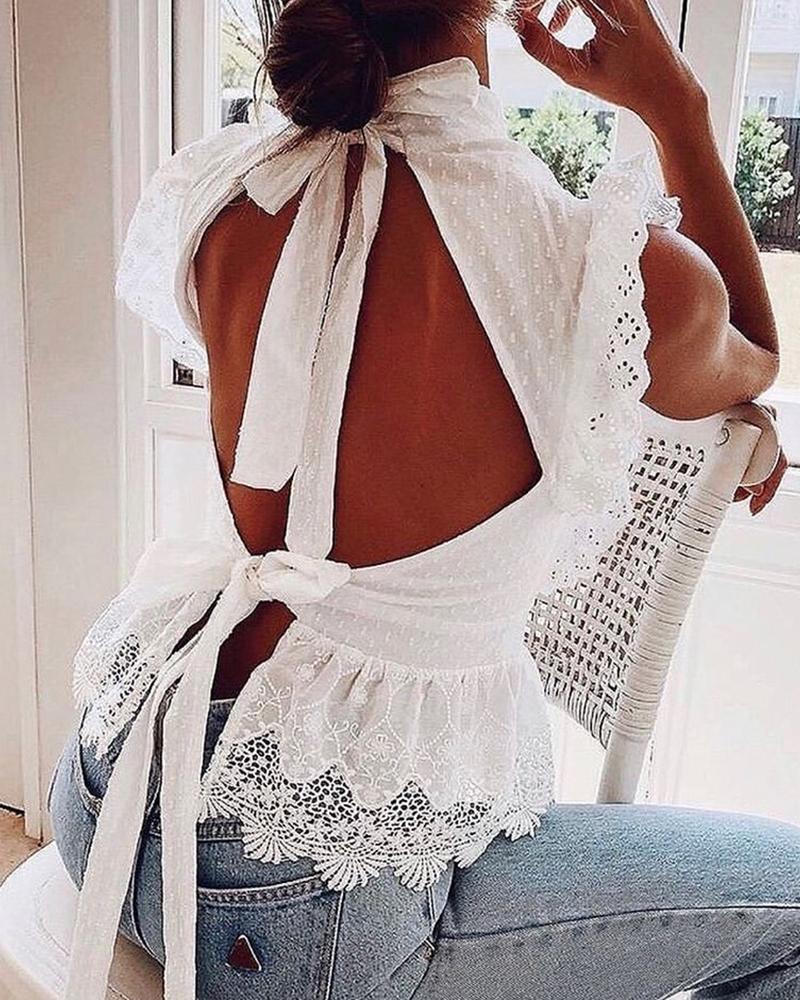 Lace Trim Backless Plain Blouse