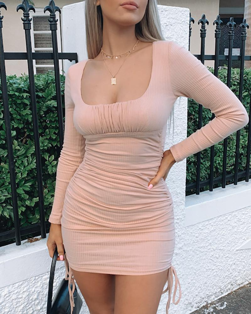 Drawstring Ruched Solid Bodycon Dress