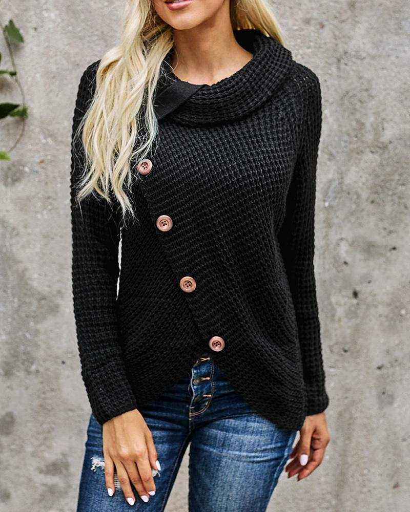 Strap Decor Mock Neck Buttoned Asymmetrical Sweater