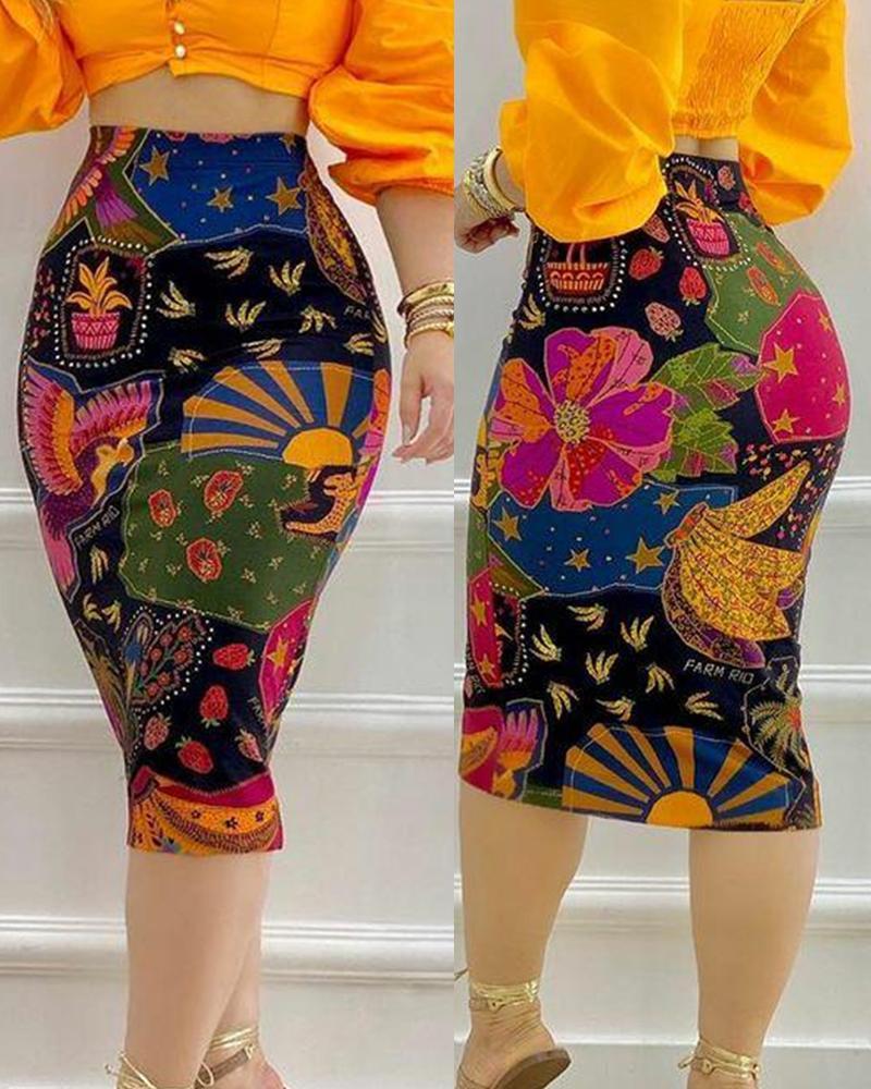 All Over Print High Waist Pencil Skirt, Multicolor