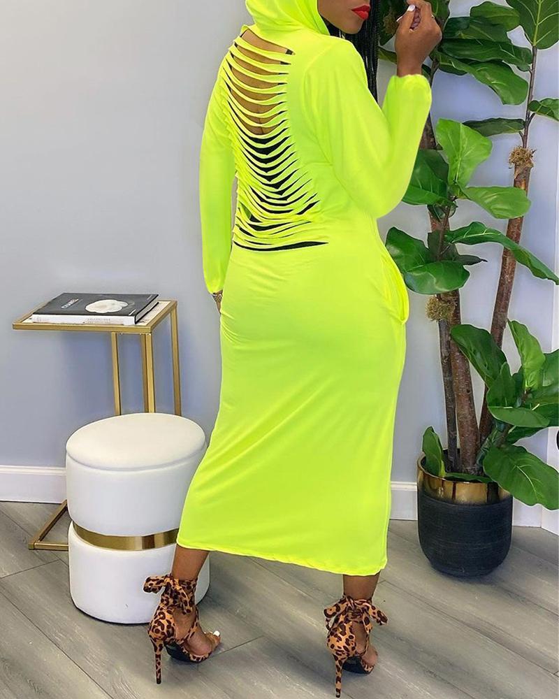 Ladder Cutout Long Sleeve Hooded Maxi Dress