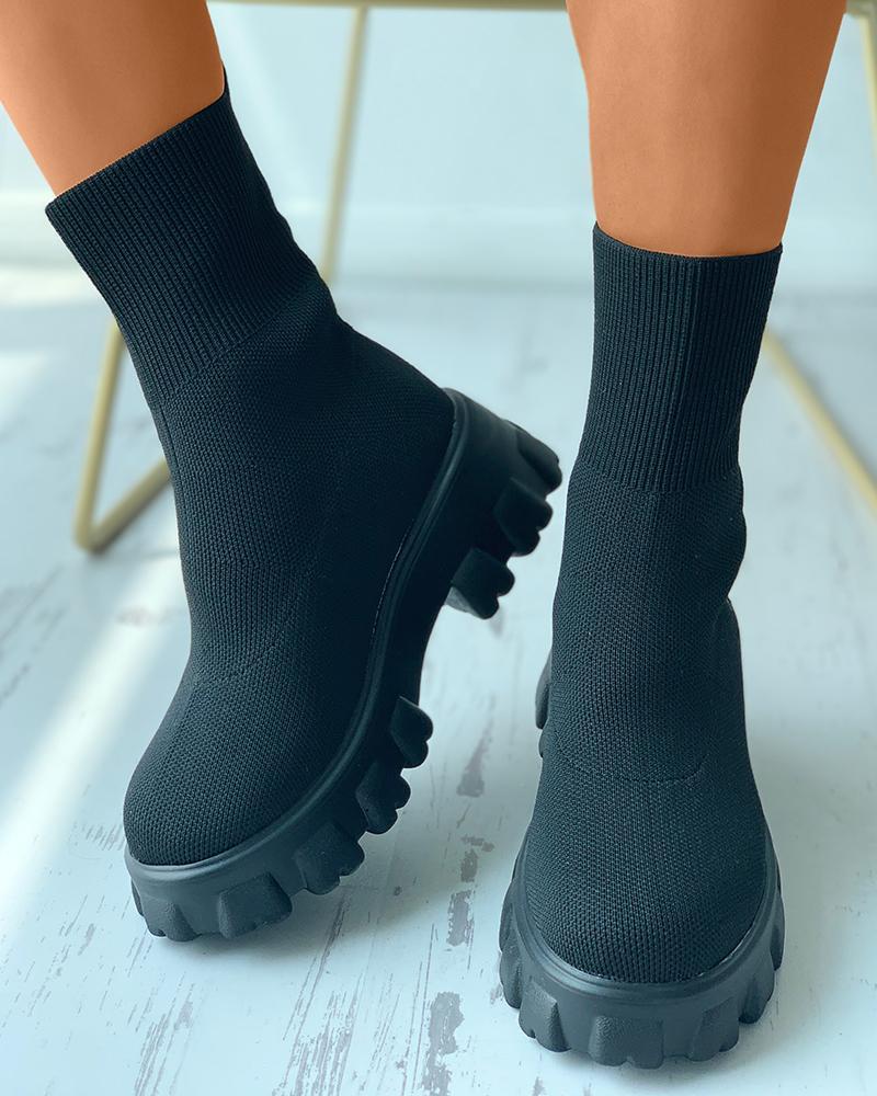 Wide Fit High Top Flatform Sock Sneakers