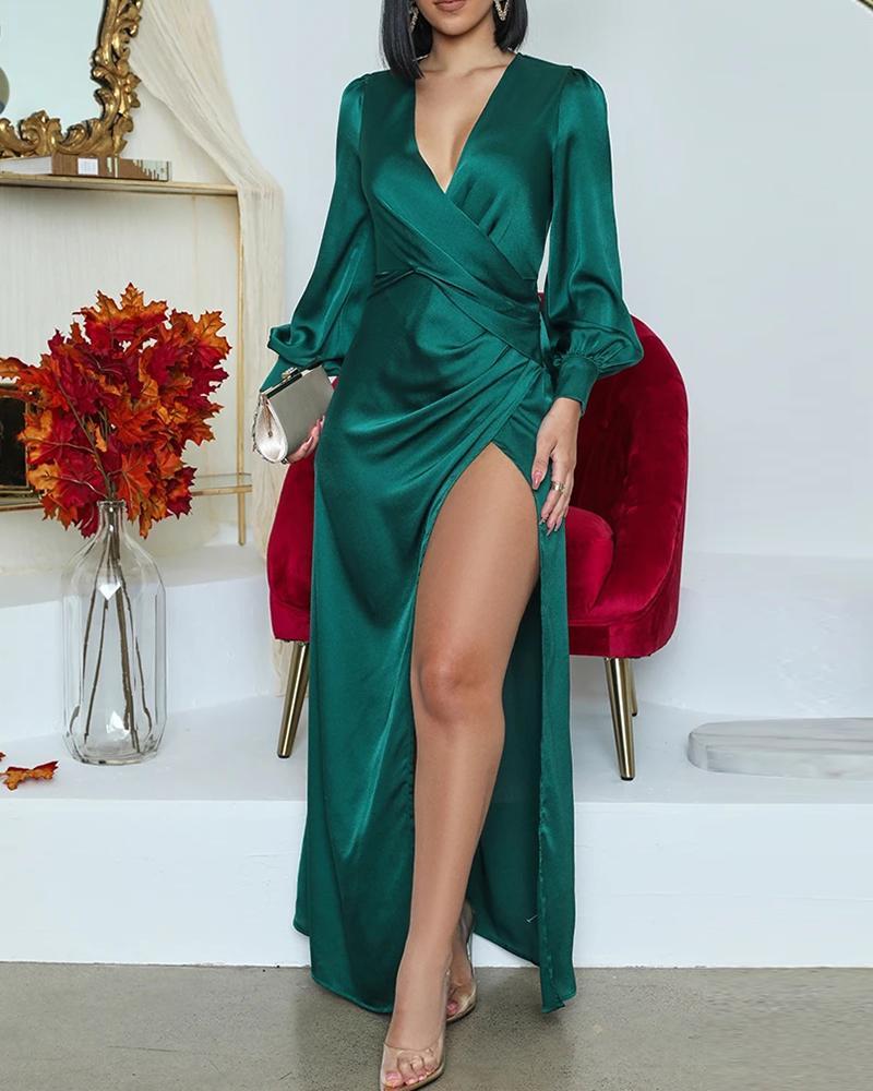 Lantern Sleeve High Slit Wrap Maxi Dress