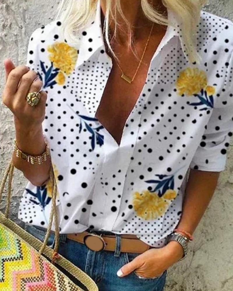 Ivrose coupon: Floral Polkadot Print Long Sleeve Shirt